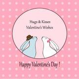 与逗人喜爱的狐狸和兔子股票的爱愉快的情人节卡片 免版税图库摄影