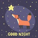 与逗人喜爱的狐狸和星的晚上好卡片 免版税图库摄影