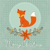 与逗人喜爱的狐狸的典雅的圣诞快乐卡片 图库摄影