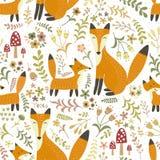 与逗人喜爱的狐狸的可爱的无缝的样式-照顾狐狸和她的婴孩 库存照片