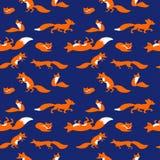 与逗人喜爱的狐狸的无缝的传染媒介样式 免版税图库摄影
