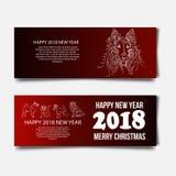 与逗人喜爱的狗的农历新年2018欢乐传染媒介卡片设计,文本的2018年翻译黄道带标志在邮票的 免版税库存图片