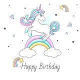 与逗人喜爱的独角兽的生日快乐卡片 图库摄影