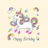 与逗人喜爱的独角兽的生日快乐卡片 库存图片