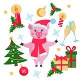与逗人喜爱的猪、圣诞树、礼物、圣诞节球、雪花、槲寄生和蜡烛的圣诞节和新年平的元素集 向量例证