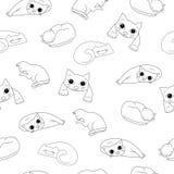 与逗人喜爱的猫剪影的无缝的样式在白色背景的 库存图片