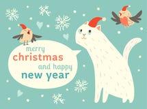 与逗人喜爱的猫和鸟的愉快的圣诞节和新年快乐卡片在圣诞老人帽子 免版税库存图片