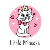 与逗人喜爱的猫的小的Vector公主海报与弓和冠 皇族释放例证