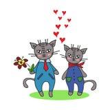 与逗人喜爱的猫的愉快的情人节卡片 免版税库存图片