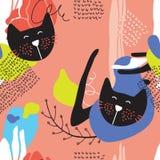 与逗人喜爱的猫的手拉的抽象无缝的背景样式 免版税库存图片