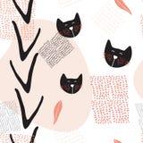 与逗人喜爱的猫的手拉的抽象无缝的背景样式 免版税图库摄影