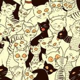与逗人喜爱的猫的无缝的传染媒介样式 库存图片