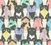与逗人喜爱的猫的无缝的样式 图库摄影