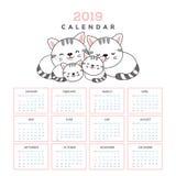 与逗人喜爱的猫的日历2019年 库存例证