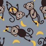 与逗人喜爱的猴子和香蕉的无缝的样式 免版税库存照片