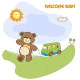 与逗人喜爱的玩具熊的婴儿送礼会看板卡 库存图片