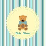 与逗人喜爱的玩具熊的婴儿送礼会看板卡 库存例证
