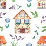 与逗人喜爱的甜房子,叶子,花的水彩无缝的样式 皇族释放例证