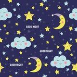 与逗人喜爱的睡觉月亮、星和云彩的晚上好无缝的样式 美梦背景 也corel凹道例证向量 免版税图库摄影