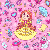 与逗人喜爱的矮小的公主的无缝的样式 库存图片