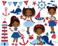 与逗人喜爱的矮小的非裔美国人的女孩、鲸鱼和螃蟹的传染媒介船舶集合 图库摄影