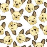 与逗人喜爱的米黄牛头犬剪影的无缝的背景 现实狗 免版税库存照片
