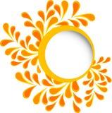 与逗人喜爱的红色叶子、黄色叶子和橙色分支的圆的框架在白色背景 库存例证