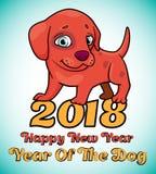 与逗人喜爱的红色小狗动画片的例证与文本-愉快的ne的 库存照片