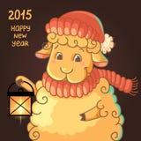 与逗人喜爱的羊羔的新年卡片在帽子 免版税库存照片