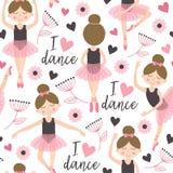 与逗人喜爱的芭蕾舞女演员女孩的无缝的样式白色 库存照片