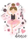 与逗人喜爱的芭蕾舞女演员女孩的海报 库存图片