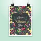 与逗人喜爱的花的华伦泰的海报 库存图片