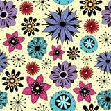 与逗人喜爱的花的无缝的样式 向量例证