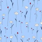 与逗人喜爱的花的无缝的样式 与风格化乱画玫瑰的紫色蓝色背景 库存图片