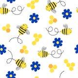 与逗人喜爱的蜂和花的无缝的样式 图库摄影