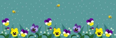 与逗人喜爱的蜂和花的水平的横幅 与飞行蜂和绿松石颜色的落的瓣的一张海报 ?? 库存例证