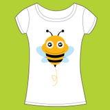 与逗人喜爱的蜂的T恤杉设计。 图库摄影