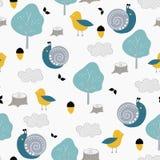 与逗人喜爱的蜗牛、鸟和自然的孩子无缝的样式 传染媒介设计、打印和纺织品 皇族释放例证