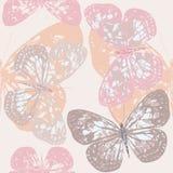 与逗人喜爱的蝴蝶的无缝的样式 向量例证