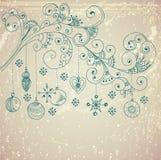 与逗人喜爱的装饰和花卉元素的圣诞节背景 免版税库存照片