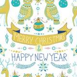 与逗人喜爱的装饰和滑稽的猫头鹰, Seaml的圣诞节背景 免版税库存照片