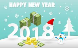 与逗人喜爱的雪人和金钱的新年快乐2018卡片 免版税图库摄影