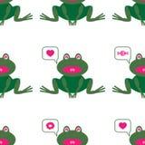 与逗人喜爱的青蛙的图象的样式 向量例证