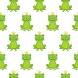 与逗人喜爱的青蛙的无缝的样式和冠导航例证 向量例证