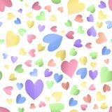 与逗人喜爱的颜色心脏的无缝的样式背景 皇族释放例证
