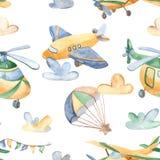 与逗人喜爱的飞机,直升机,飞艇,气球的水彩无缝的样式 皇族释放例证