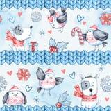 与逗人喜爱的飞鸟、狗和被编织的边界的水彩无缝的问候样式 新年度 庆祝 免版税库存图片