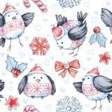 与逗人喜爱的飞鸟的水彩无缝的问候样式 新年度 多孔黏土可用的庆祝文件例证以图例解释者 快活的圣诞节 库存图片