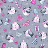 与逗人喜爱的飞鸟的水彩无缝的问候样式 新年度 多孔黏土可用的庆祝文件例证以图例解释者 快活的圣诞节 免版税库存图片