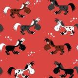 与逗人喜爱的马的无缝的样式 向量 免版税库存图片